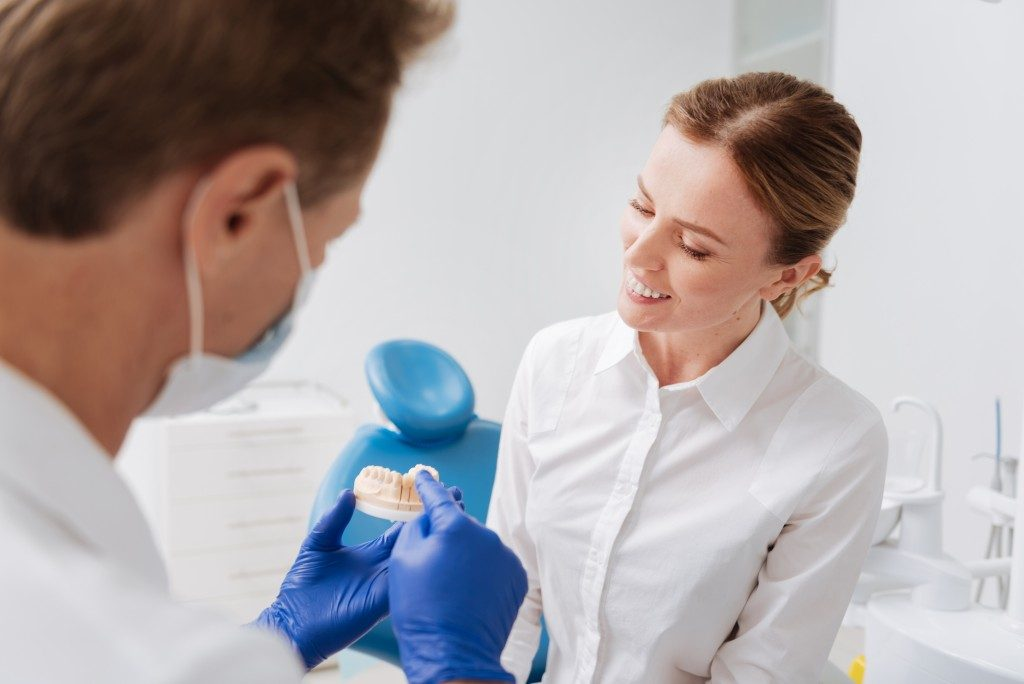 Dentist holding teeth model with patient