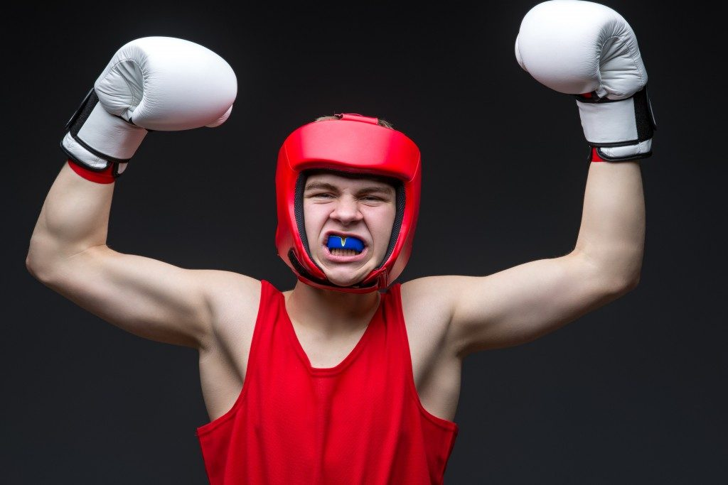 amatuer boxer with mouthguard