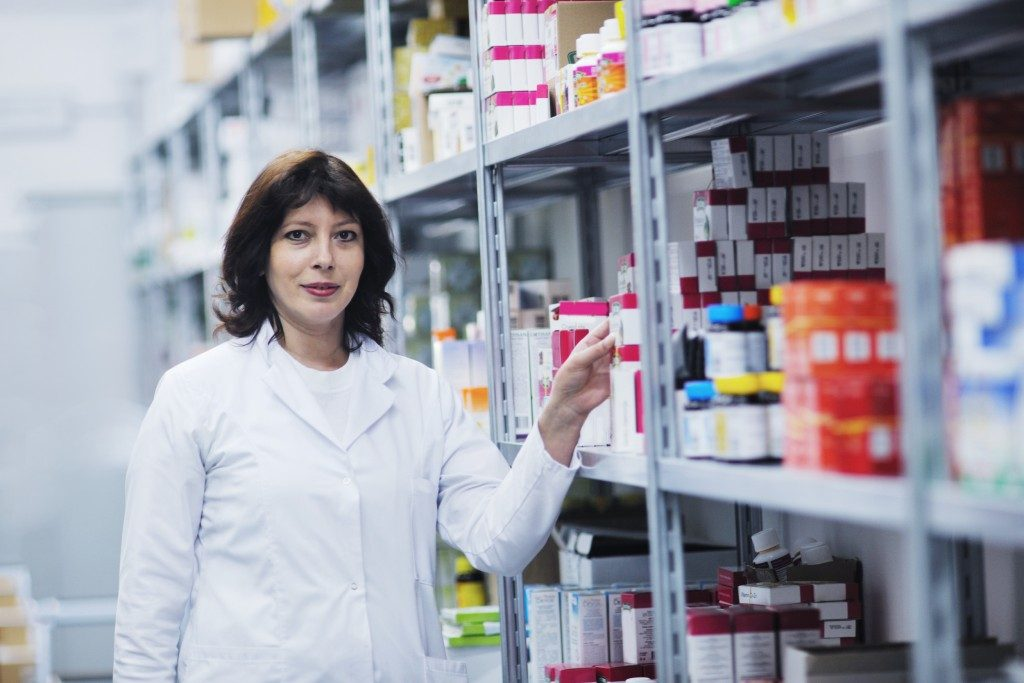 woman in a pharmacy