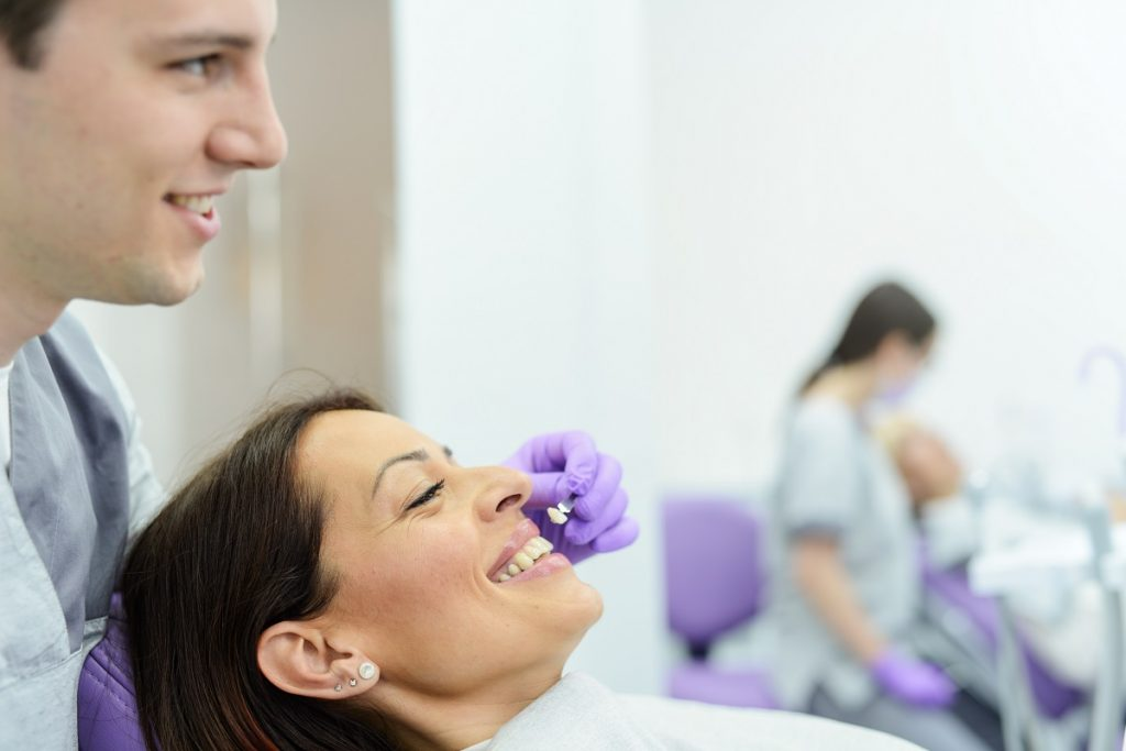 woman getting veneers in the dental clinic