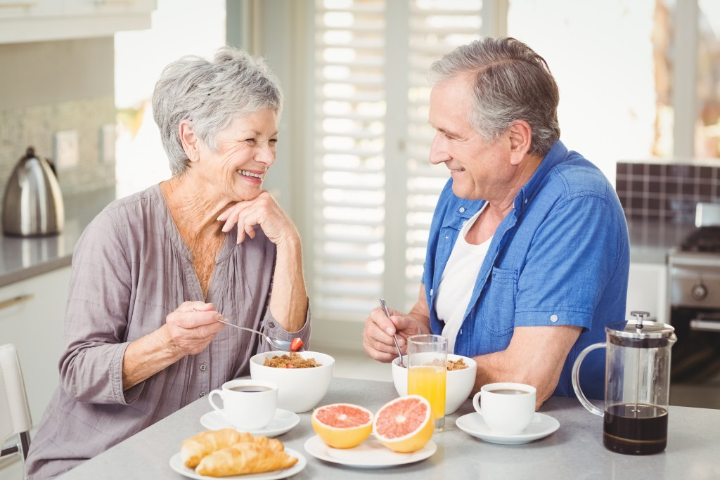 couple enjoying breakfast together